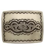Floral Design Rectangle Sterling Silver Plated Western Belt Buckle - $9.85