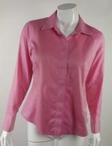Liz Claiborne Women Size Petite 8 Pink Pinstripe Button Down Career Blou... - $13.09