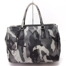 AUTHENTIC PRADA Saffiano Leather Camouflage Tote Bag Hand Bag Gray - $735.68 CAD
