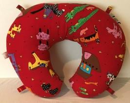 Boppy Baby Infant Nursing Feeding Support Pillow Red Noah Ark Animals To... - $14.99