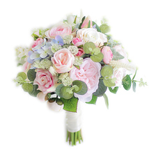 Eucalyptus Rose Hydrangea Artificial Bouquet, Rose Wedding Bridal Bouque... - $55.00