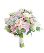 Eucalyptus Rose Hydrangea Artificial Bouquet, Rose Wedding Bridal Bouque... - $55.00