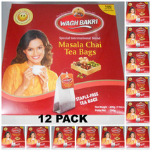 12 Pack ! Wagh Bakri Waghbakri Masala Chai 100 Tea Bags Net: 200gm Usa Seller - $88.00