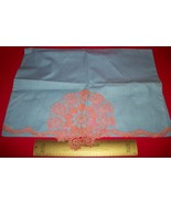 Home Treasure Linen Decor Blue Pillowcase Pair Pink LaceTrim Pillow Case... - $16.62