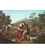 BIBLE Jacob & Rachel Dog Sheep Herd by Barbarelli  - SUPERB COLOR Litho ... - $25.65