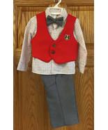 Boys Pants Shirt Vest & Bow Tie 2T Set R-Gee Plaid Red Emblem Gray Slacks - $19.75