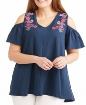 Cherokee Women's Plus Cold Shoulder Embroidery Top, Size 2X Insignia Blue - $17.95