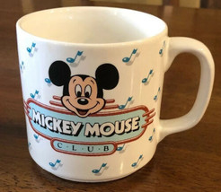 Vintage Disney Mickey Mouse Club White Ceramic Coffee Mug Cup Musical Notes - $14.84