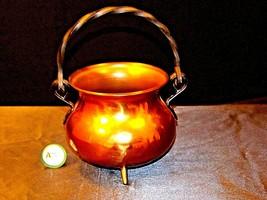 Copper Cauldron Cauldron with Metal Handle RIO TIEL AA19-1505 Antique image 2