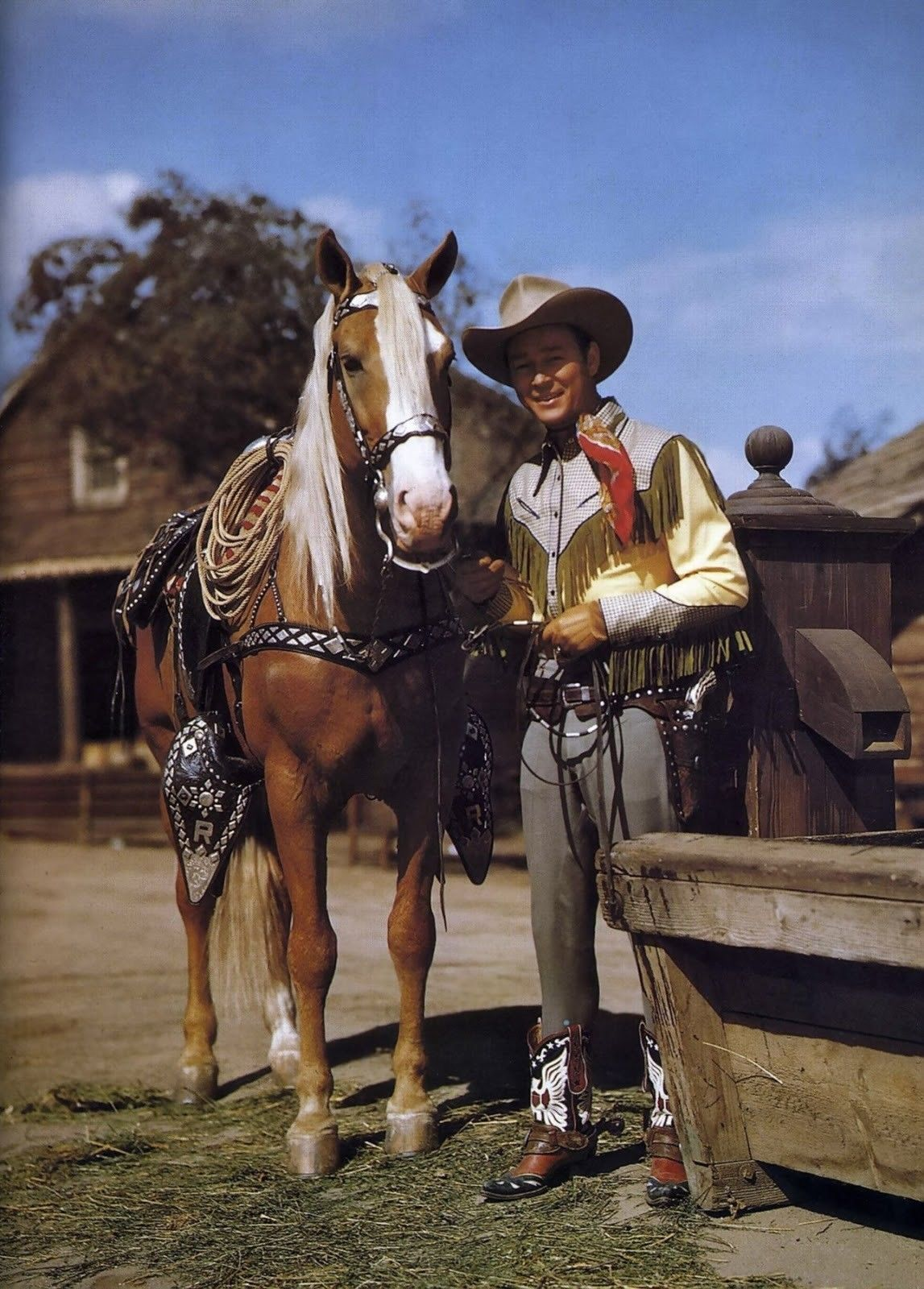 Roy Rogers Trigger TKK Vintage 16X20 Color Country Music Memorabilia Photo