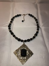 GOLD AND BLACK BEADED VINTAGE LADIES NECKLACE With Black Jewel Medallion - $24.74