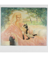 Untitled (Woman in Pink w/ Cat) By Anthony Sidoni 1987 Signed Oil on Canvas - $3,484.88