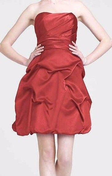 Primary image for David's Bridal Women's Plum Bubble Strapless Bridesmaid/Party Dress Size 12