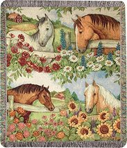 Susan Winget Horse in Florals 50 x 60 Inch Jacquard Tapestry Throw Blanket - €43,92 EUR