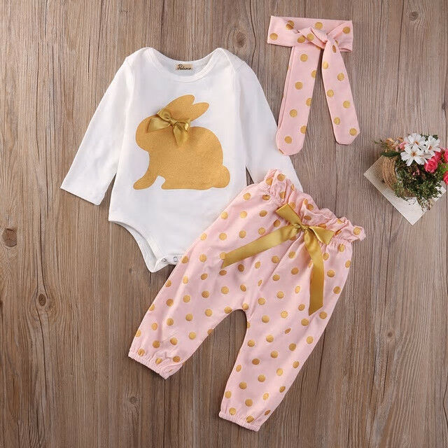Primary image for NEW Easter Bunny Gold Rabbit Baby Girls Bodysuit Pants Headband Outfit Set