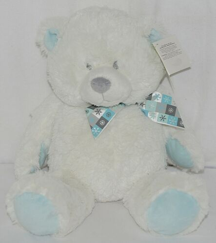 Baby GANZ Brand HX11055 White Blue Grey Snowflake Plush Bear With Bow