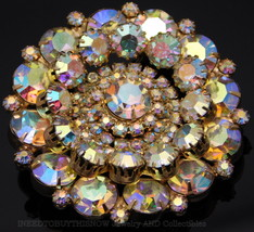 """BRILLIANT HIGH END VINTAGE LARGE ROUND LAYERED 2.25"""" AB BROOCH JULIANA? - $149.95"""