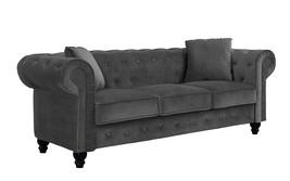 Velvet Grey Tufted Velvet Sofa Living Room Couch with Tufted Buttons Hom... - €517,00 EUR