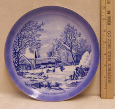 Vintage Currier & Ives Collectors Plate Blue The Farmers Home Winter Blue - $9.85