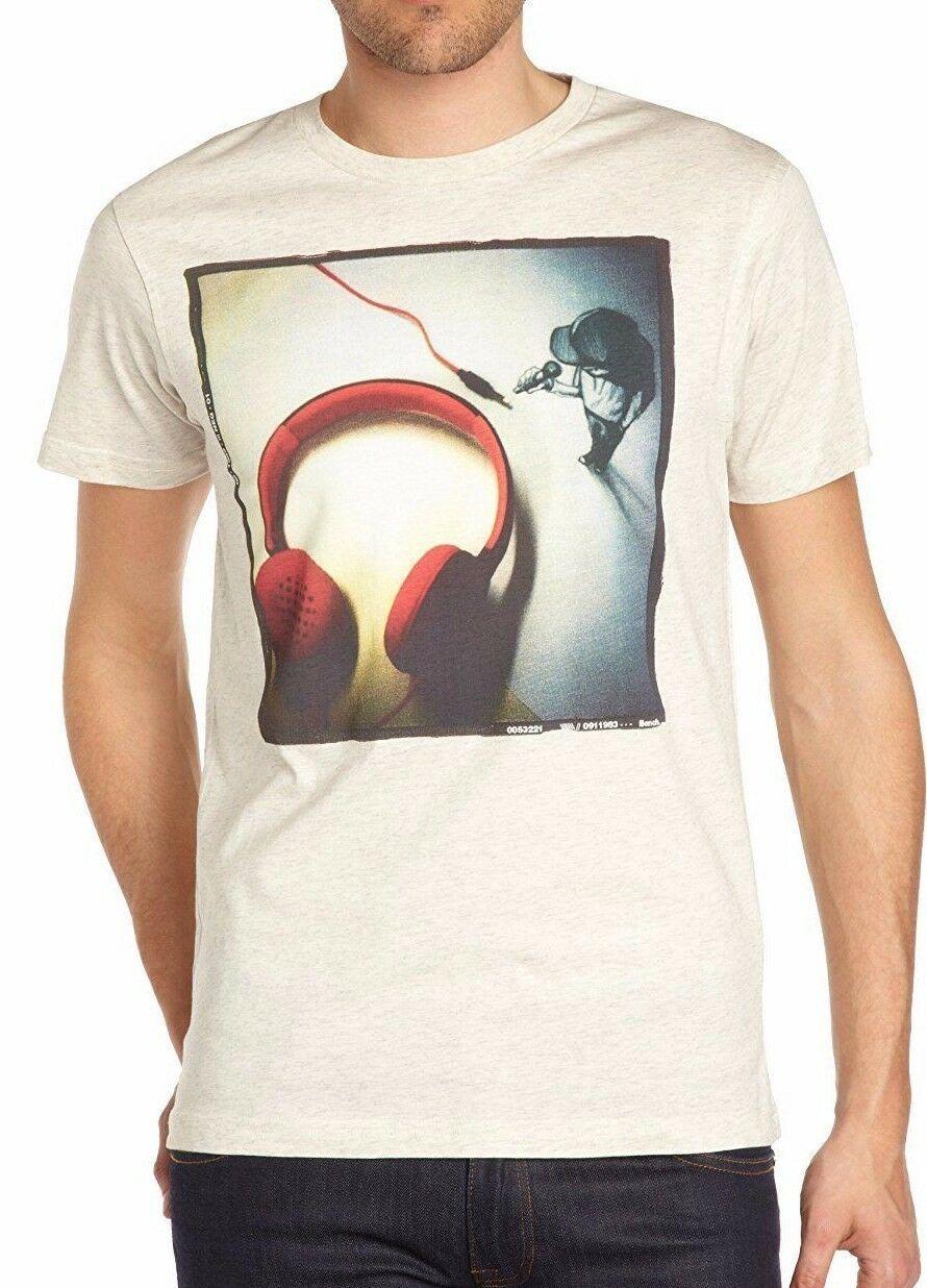 Bench Mens Cream Urbanwear 2D 3D Music Inspired Soft Cotton T-Shirt BMGA2986 NWT