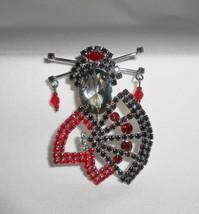 Geisha Girl Jewelry Vintage Rhinestone Brooch Pin - $47.50