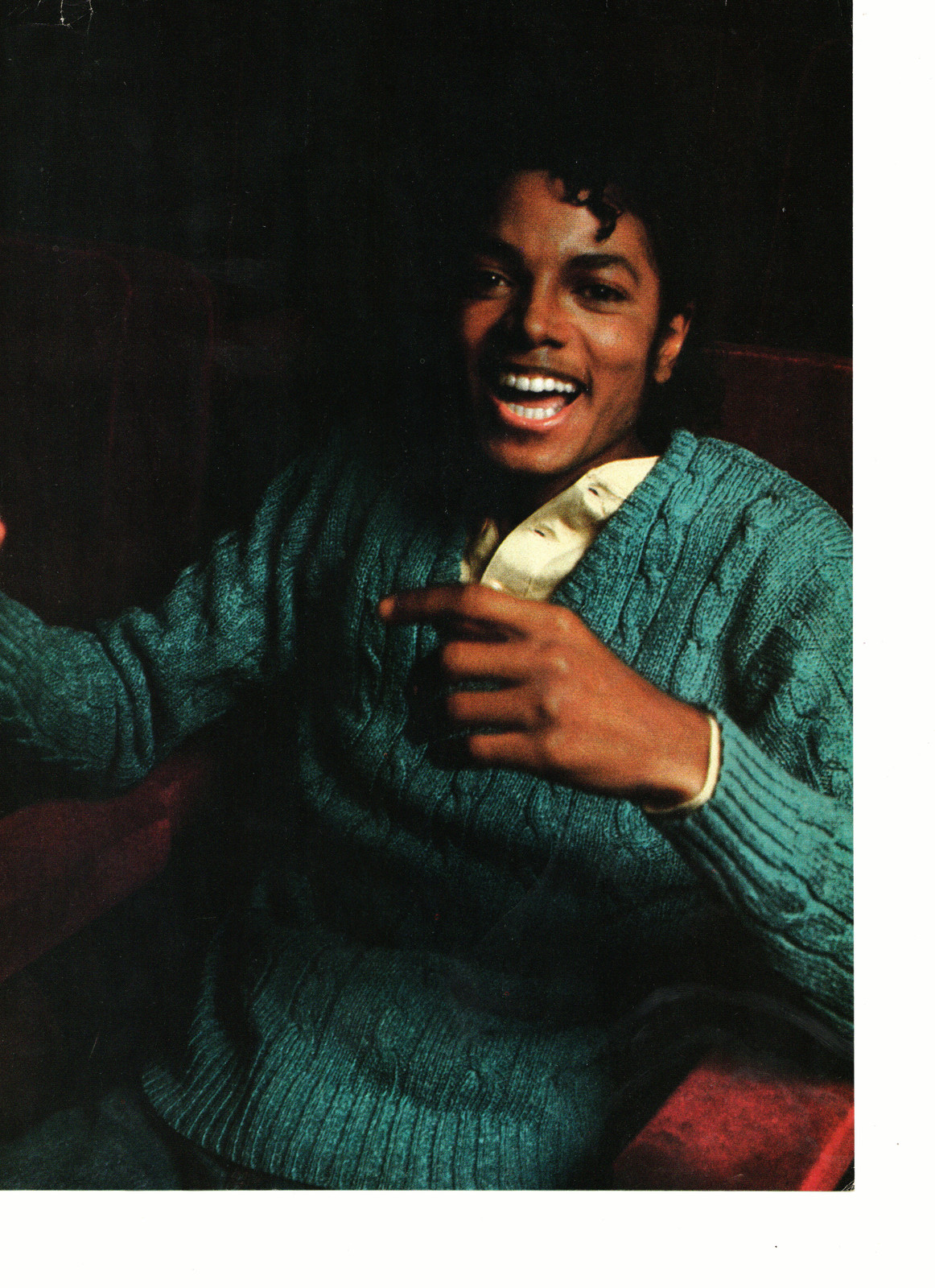 Michael Jackson teen magazine pinup clipping blue sweater laughing hard