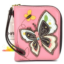 Chala Handbags Faux Leather Whimsical Butterfly Zip Around Wristlet Wallet