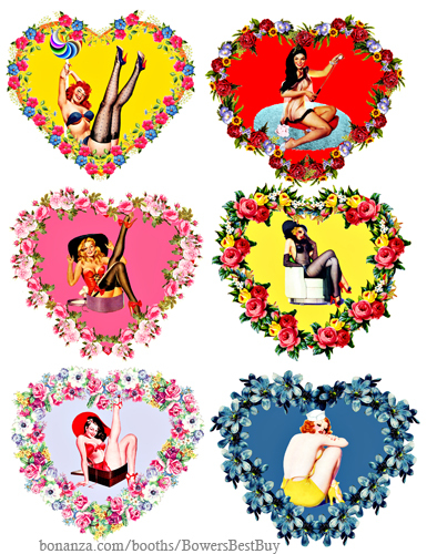 pinup girl floral hearts die cuts craft printables clipart digital download