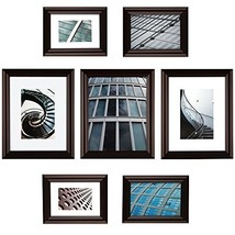 Gallery Perfect 7 Piece Walnut Photo Frame Gallery Wall Kit with Decorat... - $40.90