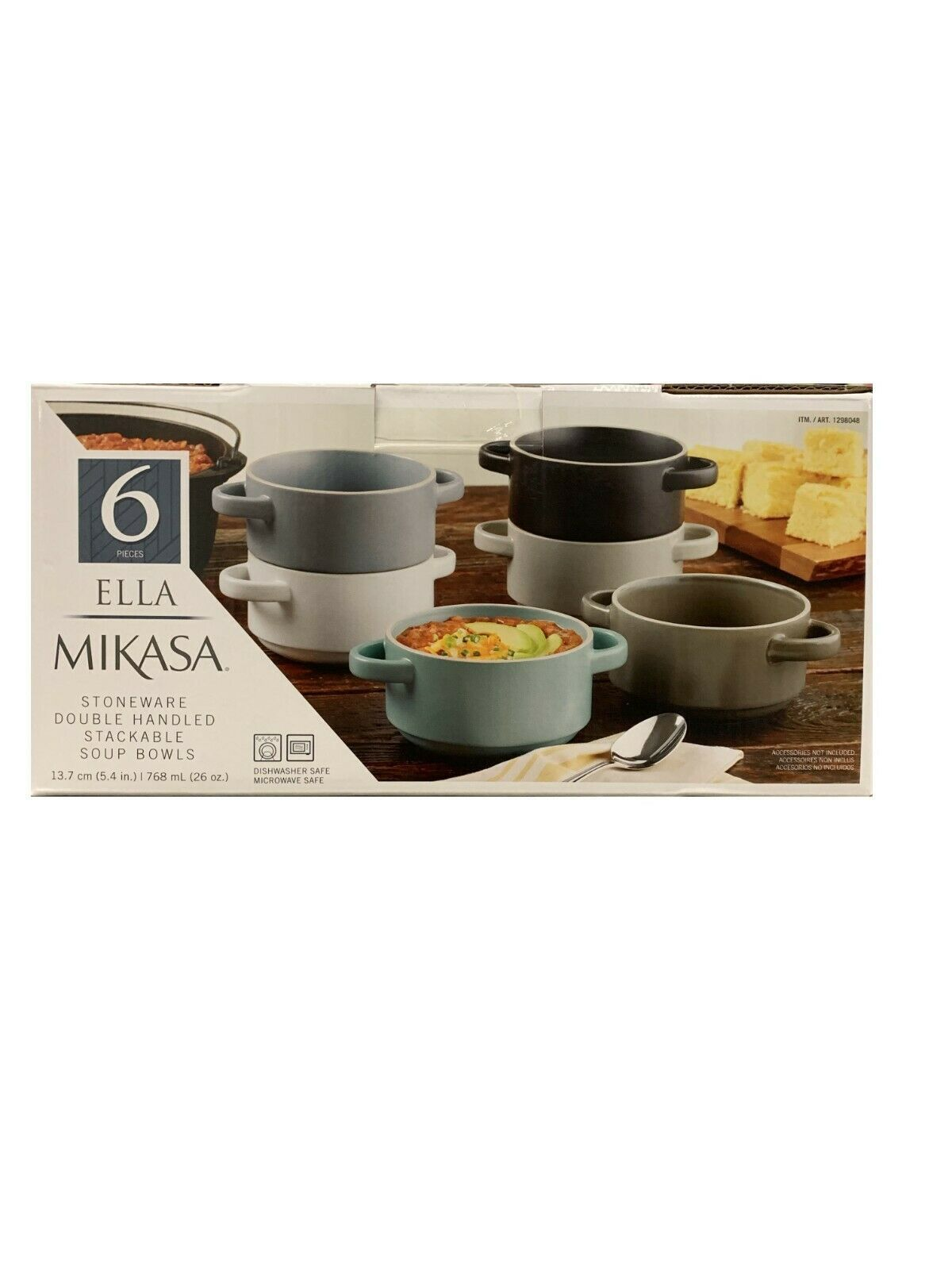 Primary image for Mikasa Ella Soup Bowl with Handles 6Pc Set Stoneware Stackable Dishwasher Safe