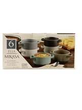 Mikasa Ella Soup Bowl with Handles 6Pc Set Stoneware Stackable Dishwashe... - $42.06