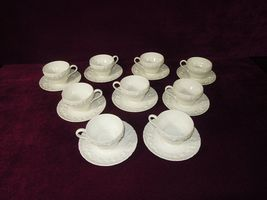 Wedgwood China Queensware White Embossed Demitasse Cups Saucers Six Sets - $119.61