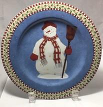 "Snowmen scarecrow red hat  8"" stoneware Salad plate 1997 Debbie Mumm for Sakura  - $5.20"