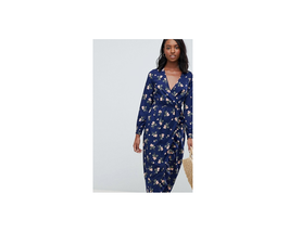ASOS Influence Tall Floral Midi Wrap Dress With Ruffle Navy Size 6 NWT - $29.69