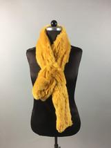 Mustard yellow Rex Rabbit Fur Scarf collar - $40.00