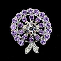 Vintage Violet Purple Rhinestone Circle Bow Brooch Made with Swarovski C... - $19.79