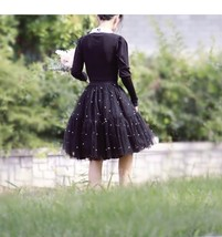 Army Green A-line Knee Length Tulle Skirt High Waisted Puffy Tutu Party Skirt image 6