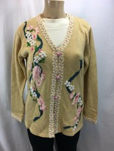 Storybook Knits Cardigan Sweater Beige Sequins Fragrance of Roses Size S... - $36.00