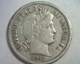 1911 BARBER DIME EXTRA FINE+ XF+ EXTREMELY FINE+ EF+ ORIGINAL COIN BOBS ... - $34.00