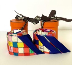 Hermes Twilly Pair Bolduc Scarves Corail Jaune Multi - $381.15