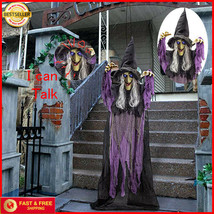 Life Size ANIMATED 72'' Talking Witch with Light-up Eyes Halloween Prop ... - $29.91
