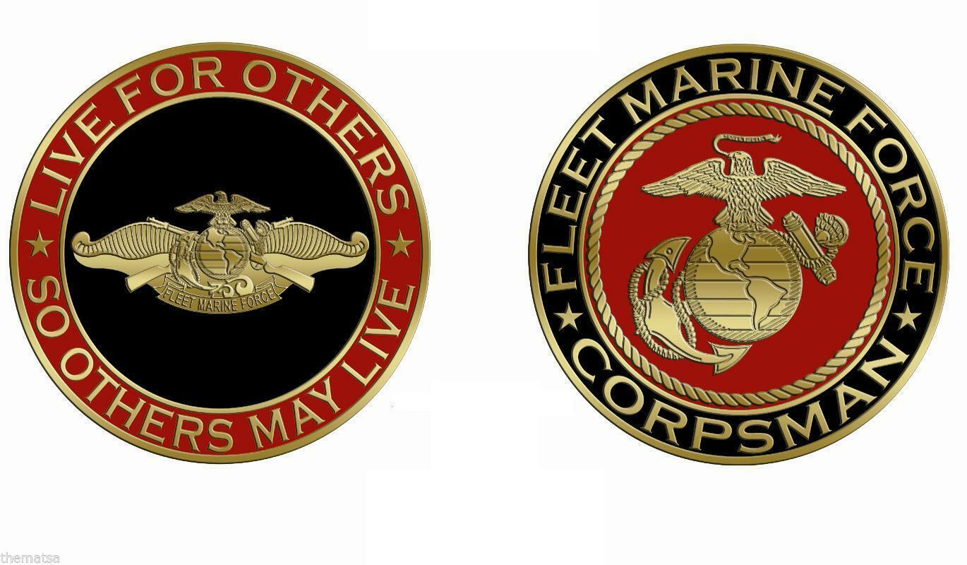 MARINE CORPS CORPSMAN SO OTHERS MAY LIVE FLEET MARINE FORCE CHALLENGE COIN