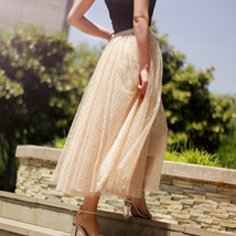 Sequined Tulle Midi Skirt Outfit Navy Gold Sparkly Midi Bridesmaid Skirt Custom image 12