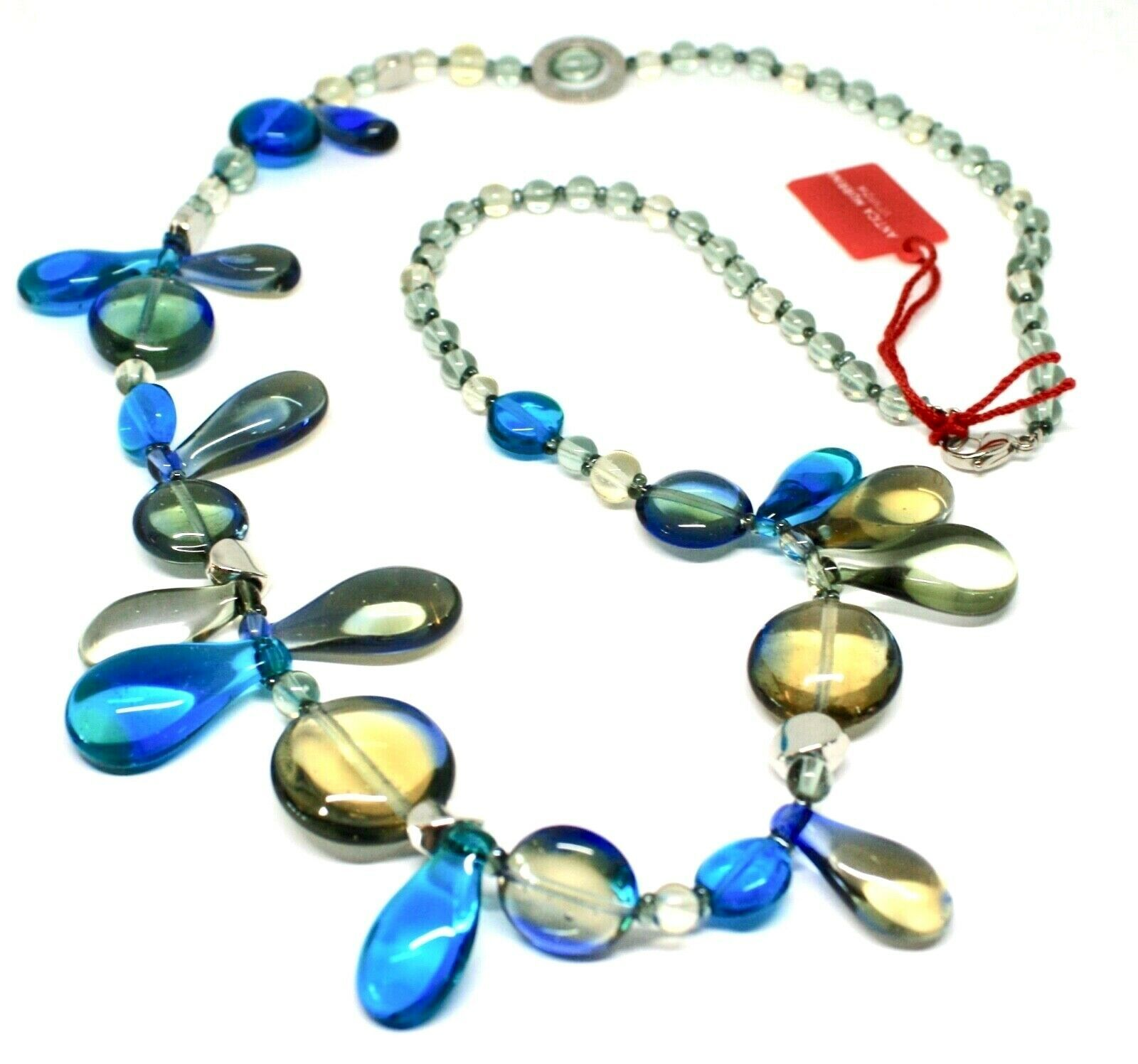 Necklace Antica Murrina Venezia with Murano Glass Lapilli Blue Gray CO692A07