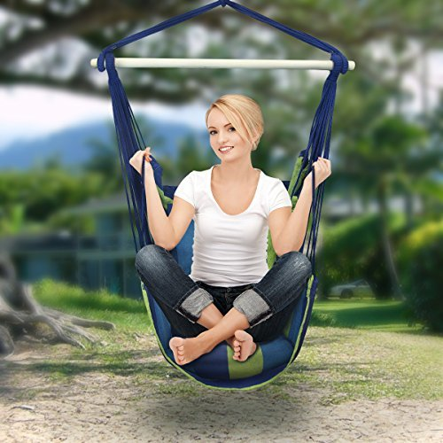 Sorbus Hanging Rope Hammock Chair Swing Seat for Any Indoor or Outdoor Spaces-