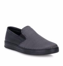 NIB Prada Black Houndstooth Nylon Leather Slip-On Sneaker Loafer Shoes 9... - $325.00