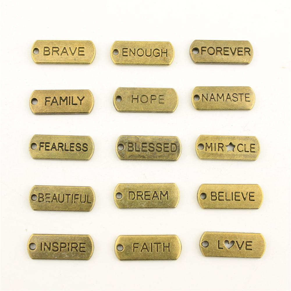 Bronze Trust Hope Blessed Tag Charms Pendant For DIY Jewelry Making Handmade Bra