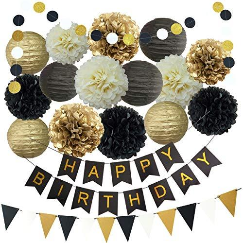 InBy Black and Gold Birthday Party Decoration Supplies Kit - Happy Birthday Bann