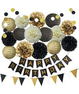 InBy Black and Gold Birthday Party Decoration Supplies Kit - Happy Birth... - $27.45