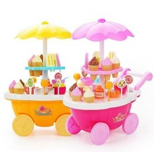 Children Girl Small Carts Mini Candy Cart Ice Cream Shop Playroom Kitche... - $29.66